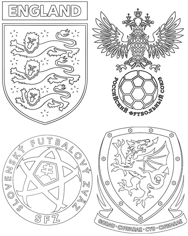 Coloring Page Uefa Euro 2016 Group B Wales Slovakia England