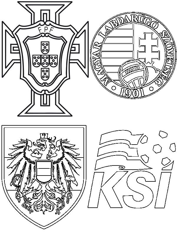 coloring page group f austria hungary portugal iceland