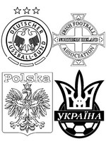Coloring page Group C: Poland - Northern Ireland - Germany - Ukraine