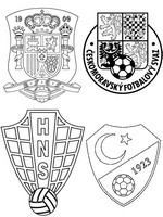 Coloring page Group D: Turkey - Croatia - Spain - Czech Republic
