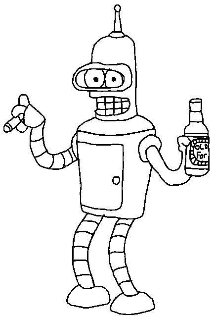 Futurama Bender Coloring Pages Futurama Coloring Pages