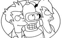 Dibujo para colorear Bender, Turanga Leela, Philip J. Fry