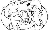 Coloring page Bender, Turanga Leela, Philip J. Fry