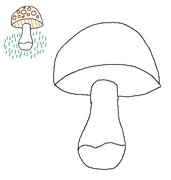 Coloring page End the drawing of the mushroom as the model