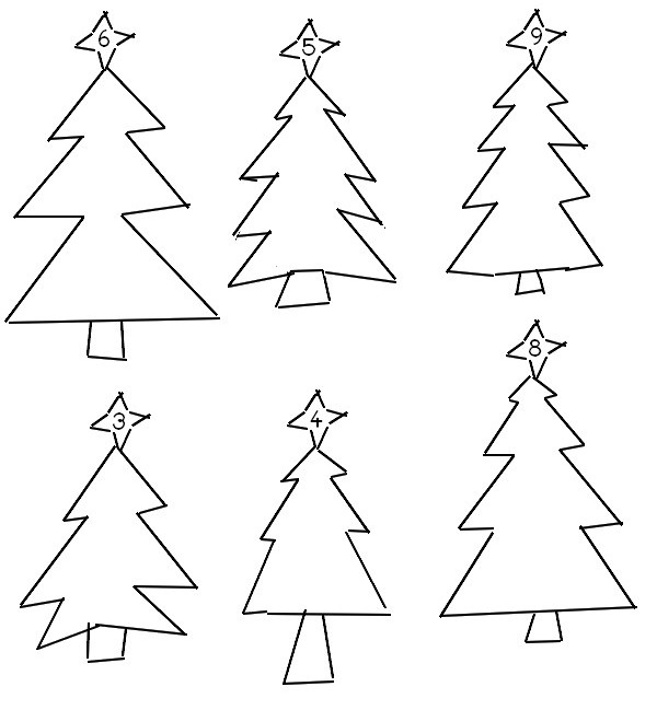 Coloring page Draw in every fir tree the indicated number of balls - Preschool Worksheets Christmas