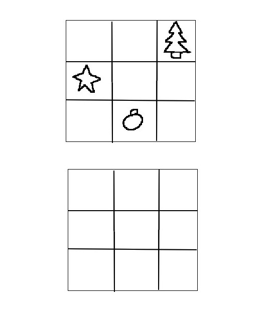 Coloring page Draw in the compartments of bottom as at the top - Preschool Worksheets Christmas