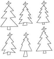 Coloring page Draw in every fir tree the indicated number of balls