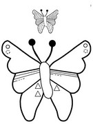 Coloring page Decorate the wings of the butterfly as on the model