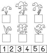 Coloring page Stick the number of bells on every jar of flowers.