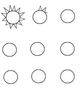 Coloring page Draw the sun's rays