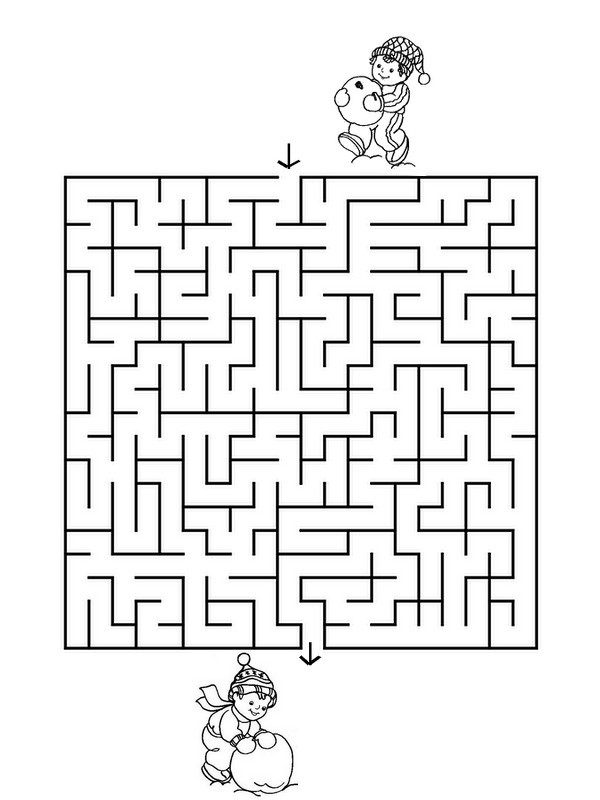 Coloring Page Preschool Worksheets Winter : Labyrinth - Winter 1