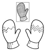 Coloring page Complete the motives on mittens