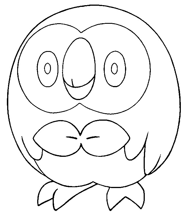 Coloring page Pokemon Sun and Moon Rowlet 11