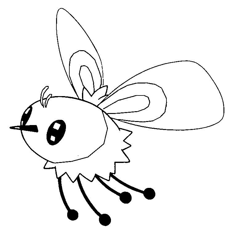Coloring page Pokemon Sun and Moon Cutiefly 17