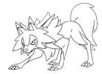 Coloring page Lycanroc midday form