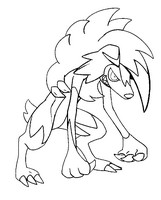 Kleurplaat Lycanroc midnight form