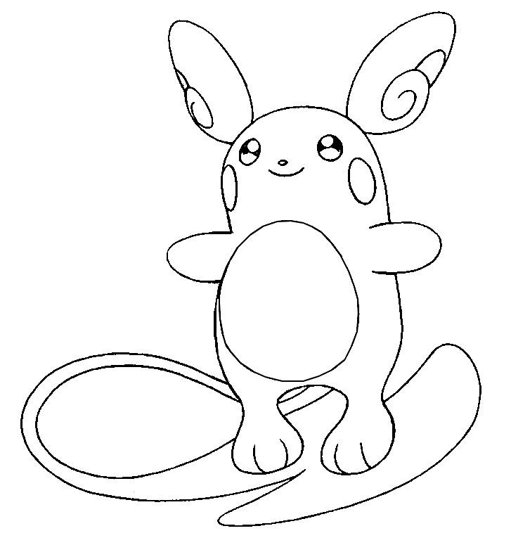 Coloring Page Pokemon Alola Forms Alolan Raichu 12