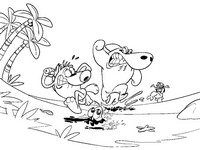 Dibujo para colorear Zig, Sharko, Bernie, Marina