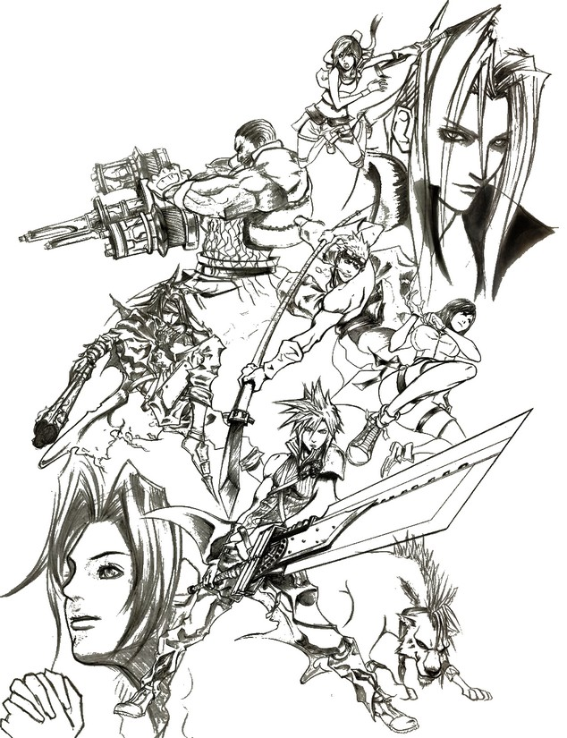 Final fantasy coloring pages cloud the for Final fantasy coloring pages