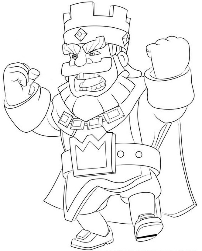 Coloring Page Clash Royale King Angry 3