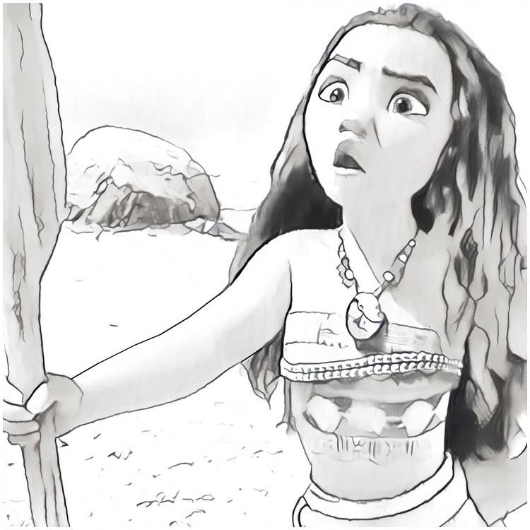 Disegno Da Colorare Oceania : Vaiana Ragazza 2