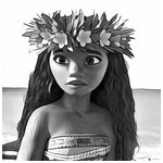 Coloring page Moana with her wreath