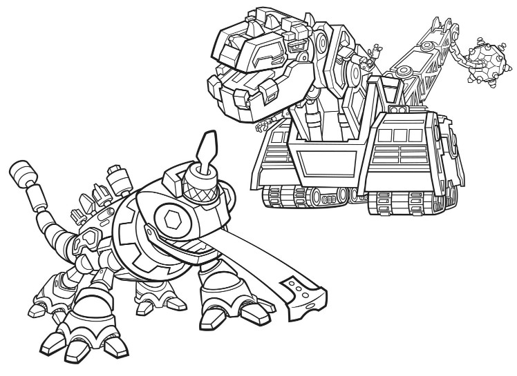 Coloring page D-Structs and Revvit - Dinotrux