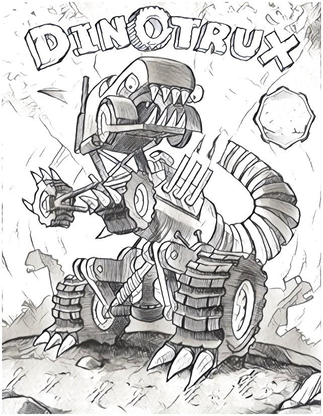 Kleurplaat Dinotrux 4