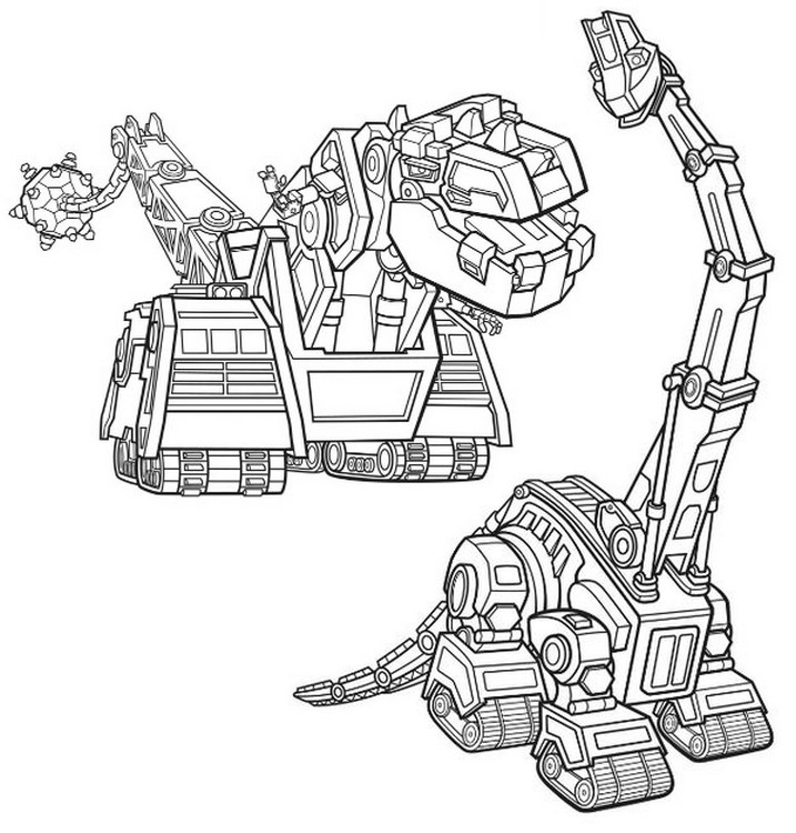 Coloring page Skya and D-Structs - Dinotrux