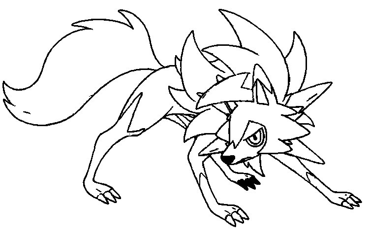 Coloring page Pokemon Ultra Sun and Ultra Moon : Lycanroc Dusk Form 5