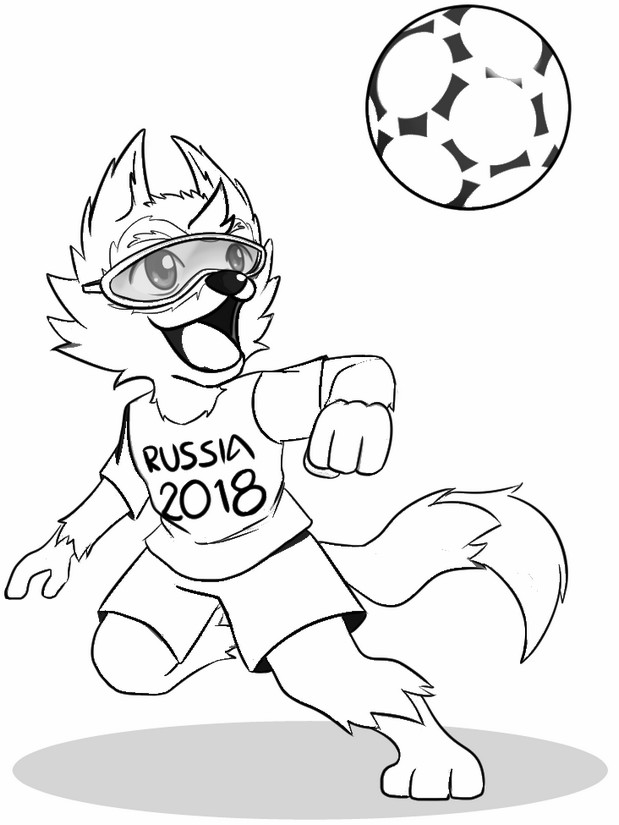 Malvorlagen FIFA Fussball WM 2018 : Maskottchen Zabivaka   Wolf 3