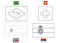 Coloring page Group E: Brazil - Switzerland - Costa Rica - Serbia