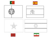 Coloring page Group B: Portugal - Spain - Morocco - Iran
