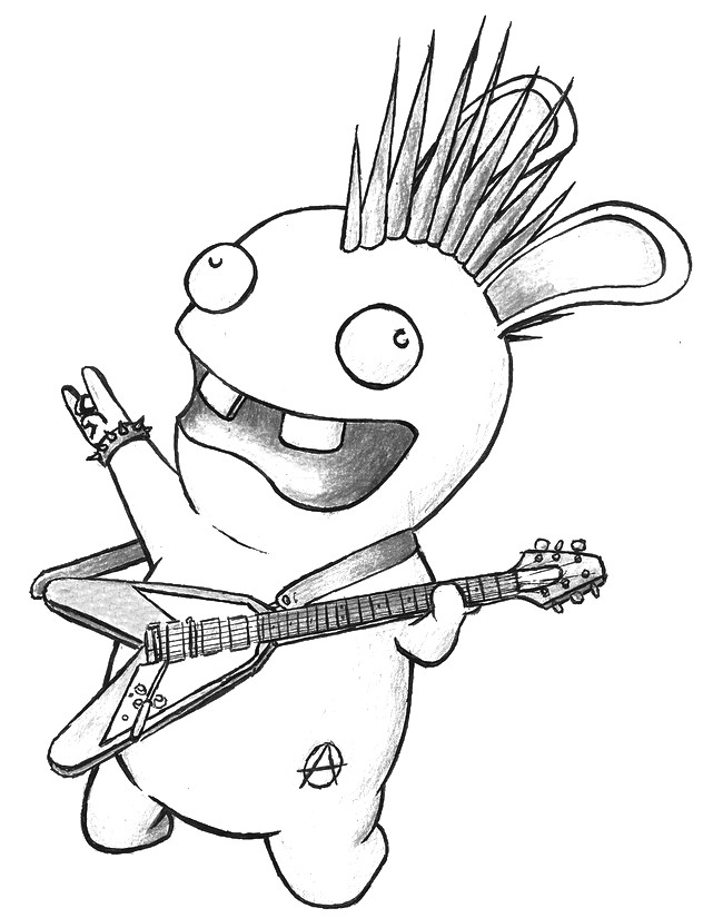 Dibujo para colorear Los Rabbids : Los Rabbids toca la guitarra 2