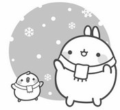 Coloring page Molang and Piu-Piu in winter