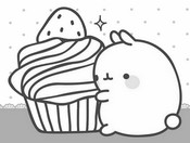 Coloring page Molang is carrying a cake