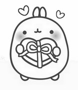 Coloring page Molang is in love