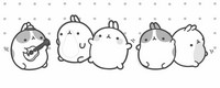 Coloring page Molang and his friends dance