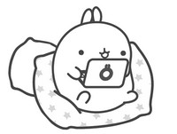 Coloring page Molang plays with the computer