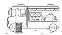 Coloring page Molang sells ice cream