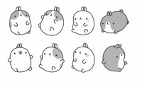 Coloring page Molang and his friends