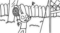 Kolorowanka Simon gra w badmintona