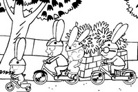 Coloring page Simon rides his bike with his friends
