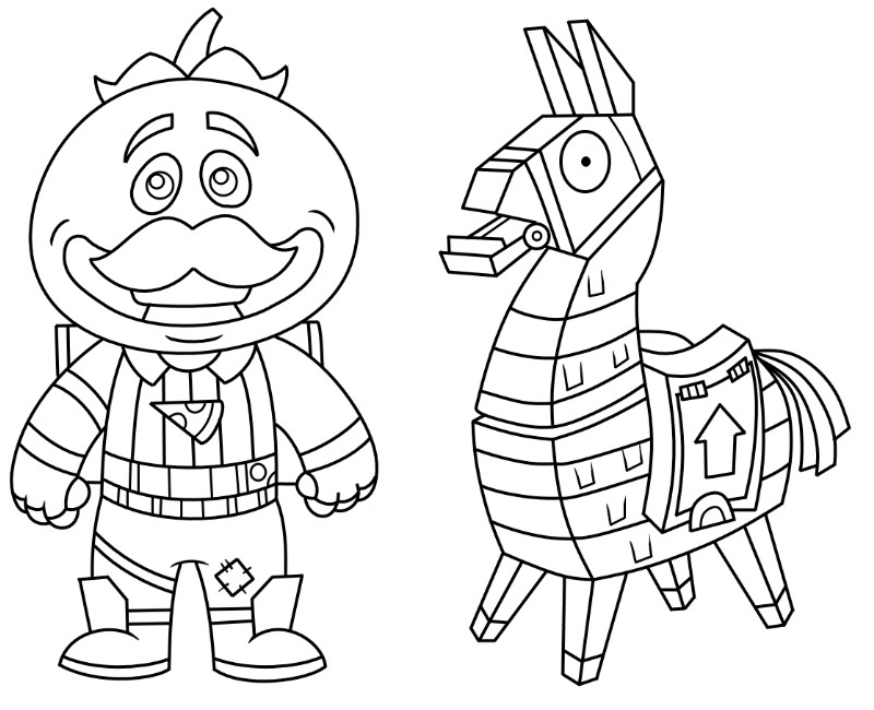 Coloriage Fortnite Mini.Coloring Page Fortnite Mini Tomatohead And Mini Lama 1