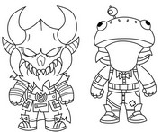 Dibujo para colorear Mini Cute The Dark Viking y Mini Frog