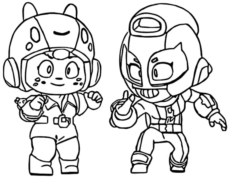 Coloring Page Brawl Stars Bea And Max 47