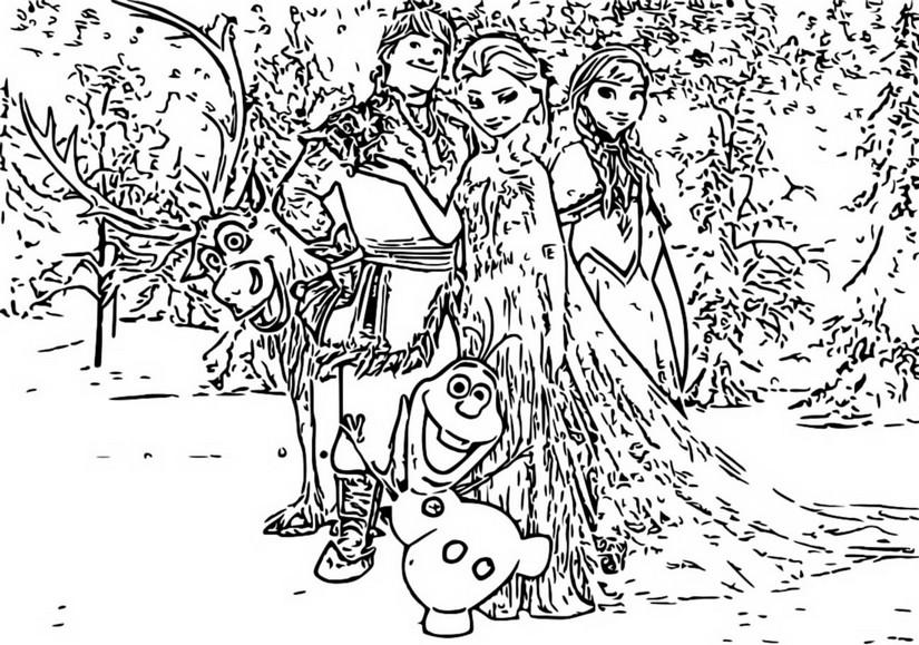 Dibujo Para Colorear Frozen 2 Anna Elsa Olaf Kristoff Y Sven 5