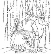 Coloring page Elsa, Kristoff, Olaf and Sven