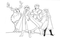 Coloring page Anna, Elsa, Kristoff and Sven