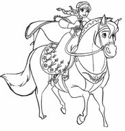 Coloring page Elsa on horseback